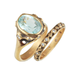 Spring Pool Bridal Ring Set by Audrius Krulis. 18K Yellow Gold and Green Tourmaline