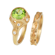 Swirling Brook Bridal Ring Set by Audrius Krulis. 18K Yellow Gold and Peridot