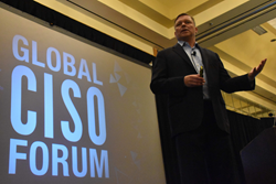 Marten Mickos, the CEO of HackerOne, addressing the Global CISO Forum 2016 crowd about Bug Bounty programs.