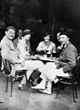 Ernest Hemingway with friends in a café 1925
