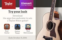 Gismart and Taylor are running a Taylor 814ce guitar giveaway