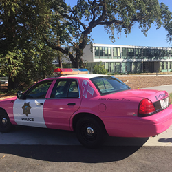 Pink police car parked at Kentfield Campus