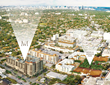 Aerial showing  the future location of Merrick Manor and proximity to The Shops at Merrick Park