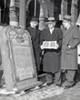 Actor Yul Brenner, star of The Ten Commandments film, with F.O.E.representatives at dedication of F.O.E. Ten Commandents monument in Milwaukee, WI, 1955.