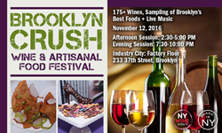 Brooklyn wine tasting, wine and food event, artisanal food, craft food, New York state wine, Brooklyn fall events, wine festival, Brooklyn Crush, New York Wine Events