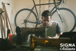 Mike Zinger works behind the sewing machine for his artisan bicycle bag company, Farsik Supply. The story is shot entirely on Sigma Art-series lenses by Mindspark Cinema.