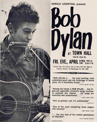 Vintage 1963 Bob Dylan Town Hall New York Concert Poster