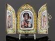 "Russian silver enamel icon triptych, marked ""84"""