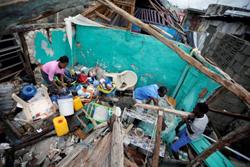 Family in Haiti after Hurricane Matthew 2016