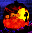 "RISE of the Jack O'Lantern's carving of a scene from ""It's the Great Pumpkin, Charlie Brown!"""