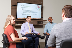 A therapy group meets as supportive aspect of Medication Assisted Treatment Program.