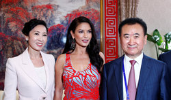 Wang Jianlin meets Catherine Zeta-Jones at the launch of his Wanda studios in China