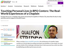 Nearshore Americas Article featuring Qualfon Chaplain Enrique de la Cruz