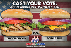 Red Hot & Blue's Clinton Chicken Sandwich and Donald Beef Burger