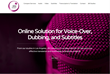 "Screen capture of JBI Connect home page. Large red picture of microphone with headline reading ""Online Solution for Voice-Over, Dubbing and Subtitles."""