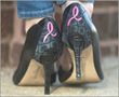 Show heel accessory: Breast cancer logo on black-on-black pattern