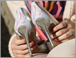 Show heel accessory: Breast cancer logo on silver pattern