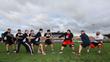 Newcastle Falcons take on Eddie Hall, Zydrunas Savickas and Laurence Shahlaei at a tug of war