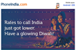 20% Price Drop for International Calls to India before Diwali, for All Indian Expats Worldwide, from PhoneIndia.com