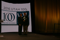 Zane Bennett, Chief Executive Officer of Bask Technology, Inc., accepted the Utah 100 award on behalf of the company during the 22nd Annual Utah 100 Awards, in Salt Lake City, October 18, 2016.