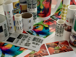 Multicolor barcode label samples via digital inkjet mprint presses