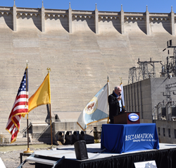 Assistant Area Manager Ken Rice speaks at the Centennial celebration today at Elephant Butte Dam.