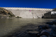 Elephant Butte Dam with American Flag on face of the dam.