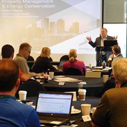 Robert Meyer addresses energy professionals at Franklin Energy's Multifamily Summit