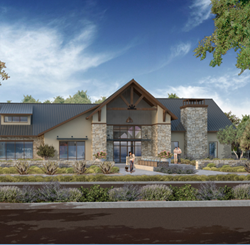The Lodge community center in the Riverstone community in Madera County, California.