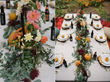 Use touches of gold to add sparkle and surprise. Laurie Garza of Fleurie Flower Studio in Reedley, CA, designed a warm, cozy fall table with dahlias, zinnias, hops, sorghum and bunny tail grasses.