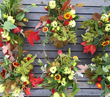 Add scarlet leaves and ornamental grains to convey autumn's rich palette. Hannah Morgan of Fortunate Orchard in Seattle, WA, tucked vibrant foliage from local maple, oak and liquidambar trees into sea