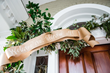 Entertain holiday guests with a greeting that trims the front door. Christy Hulsey and Amanda Currier of Colonial House of Flowers in Statesboro, GA embellished the front door with a garland of local