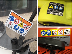 "Examples of symbol-only ""no text"" safety label formats"