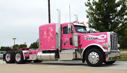 Commercial truck fleet dealer, TLG, customized a Peterbilt Sleeper for cancer awareness.