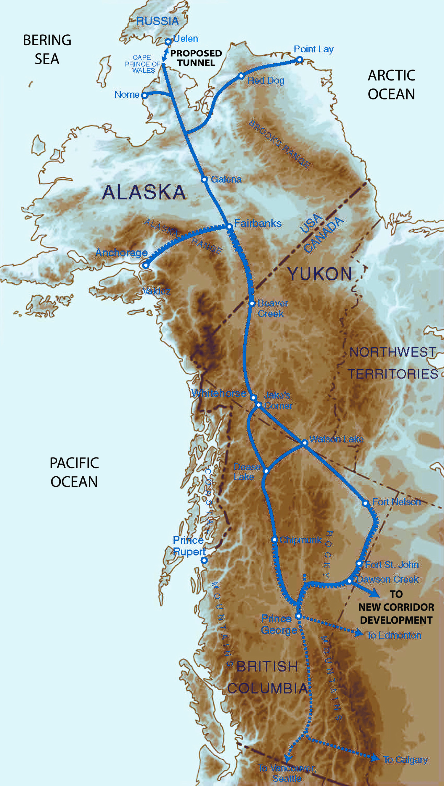 proposed railroad lines in canada and alaska toward bering strait tunnel