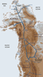 Proposed railroad lines in Canada and Alaska toward Bering Strait tunnel.