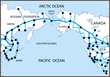 Map of Bering Strait and proposed network of conventional and high speed railroads in USA, Canada and Russia.