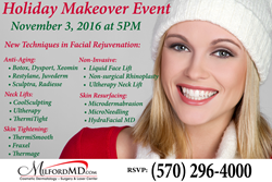 Free holiday makeover event with cosmetic surgery discounts on 11/3/16.