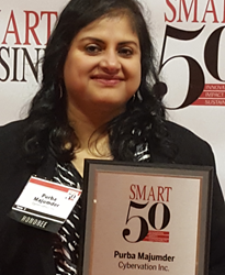Smart 50 Awards Honoree Purba Majumder, CEO and Co-founder of Cybervation, Inc.