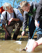 Dr. Bernie Kuhajda releasing Lake Sturgeon with Gap Creek Elementary students