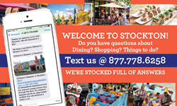 Visit Stockton Text Card