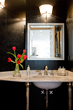 black powder room, black leather wallpaper, interior design, Boston interior designers