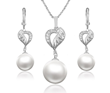 Platinum Plated Pendant and Earring with Pearl
