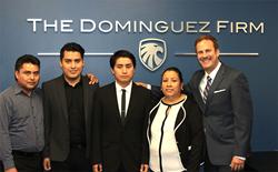 Attorney Juan Dominguez with Perez family
