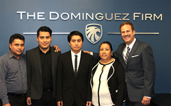 Attorney Juan Dominguez with Perez family