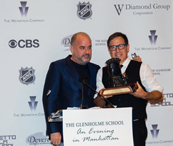 """David O. Russell presents the Excelsior! Award to Joe Hall at The Glenholme School's gala, """"An Evening in Manhattan."""""""