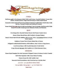 Zink Kitchen + Bar Thanksgiving Buffet Menu