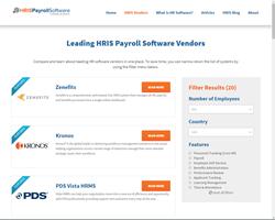 List of HRIS payroll software vendors