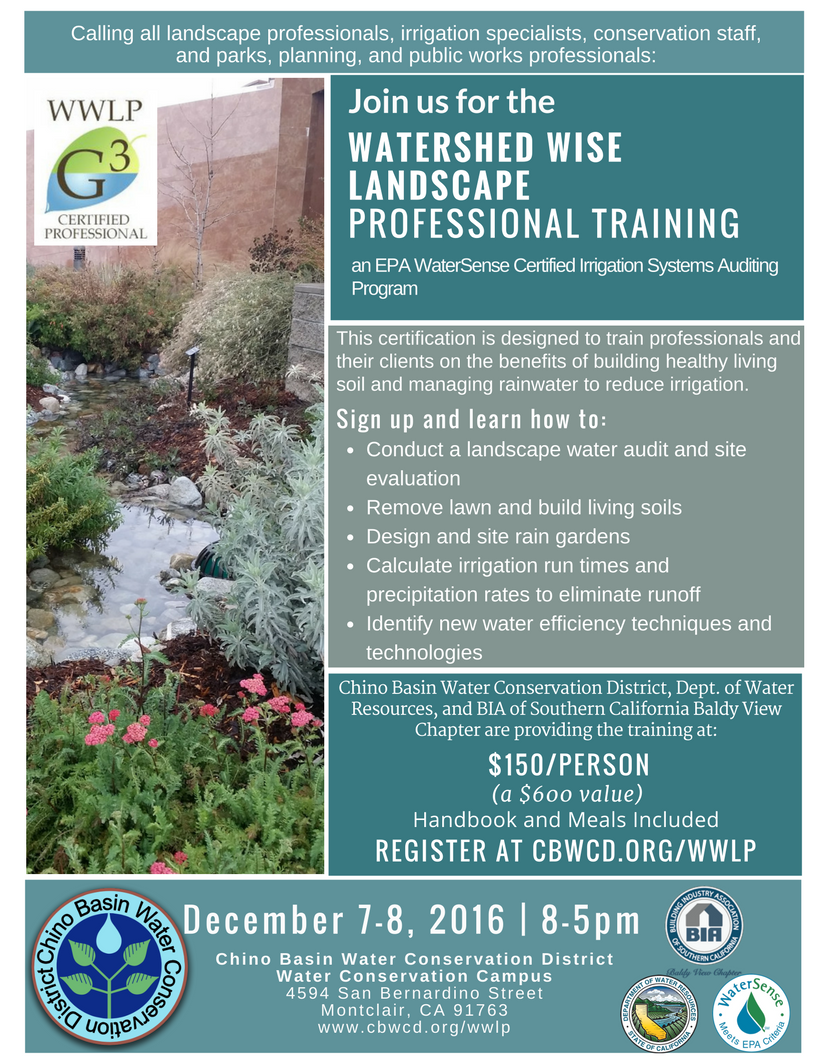 Cbwcd announces new watershed wise landscape professional new watershed wise landscape professional training begins dec 7new watershed wise certification program offers southern california landscape pros the xflitez Choice Image