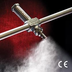EXAIR's new 1/4 NPT Internal Mix Deflected Flat Fan Atomizing Spray Nozzle